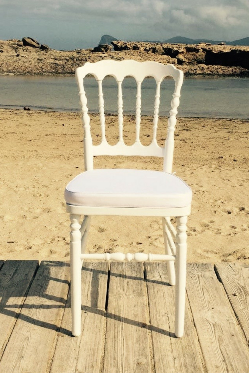 Napoleon white chair - ibiza chair company - hire - rentals - weddings - events - ibiza