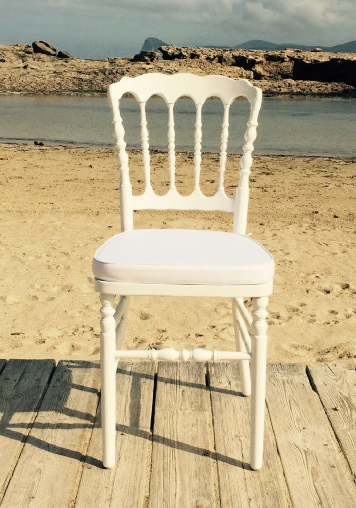 Napoleon white chair - ibiza chair company - hire - rentals - weddings - events - ibiza