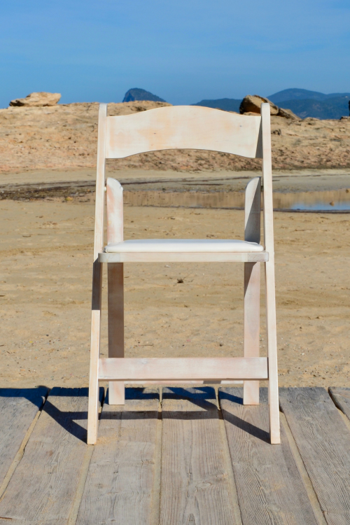 folding white washed chair - wedding - events - hire - rental- ibiza